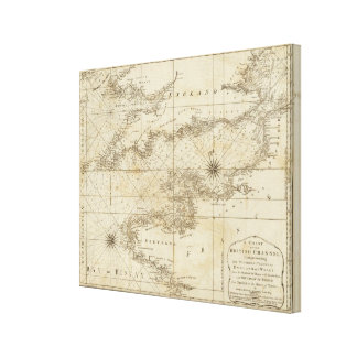 A chart of the British Channel Canvas Print