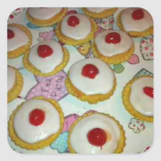 A Cherry Bakewell Tart Square Stickers