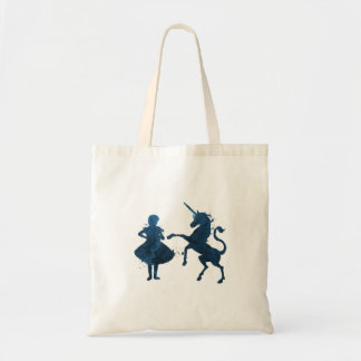 A child and a unicorn tote bag