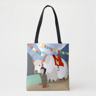 A child and best friend pet Tibetan yak colorful Tote Bag