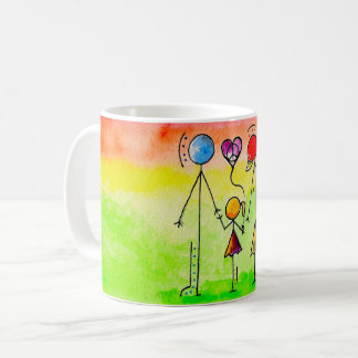 A child in between coffee mug