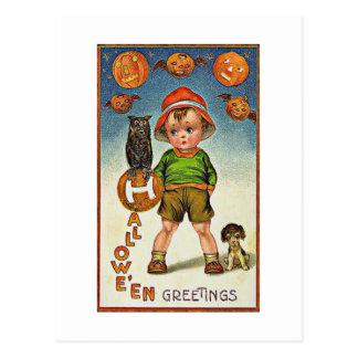 A Child's Spooky Vintage Halloween Postcard