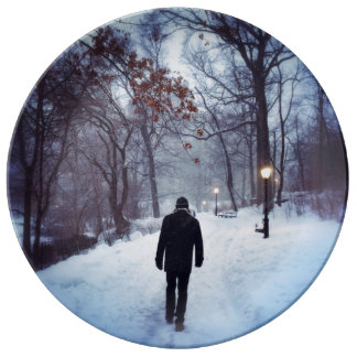 A Chilly Path In Central Park Porcelain Plate