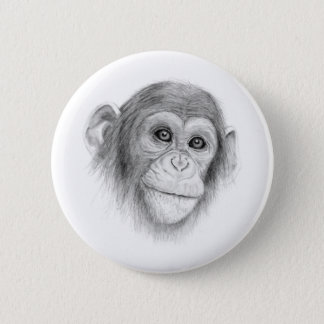 A Chimpanzee, Not Monkeying Around Sketch 6 Cm Round Badge