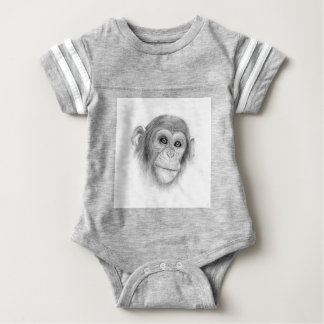 A Chimpanzee, Not Monkeying Around Sketch Baby Bodysuit