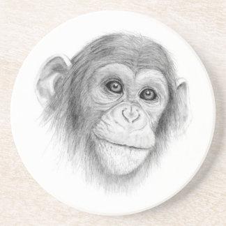 A Chimpanzee, Not Monkeying Around Sketch Coaster