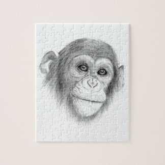 A Chimpanzee, Not Monkeying Around Sketch Jigsaw Puzzle