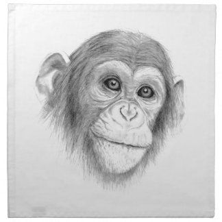 A Chimpanzee, Not Monkeying Around Sketch Napkin