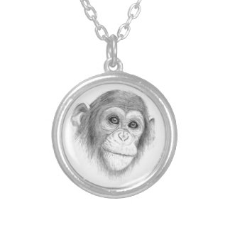 A Chimpanzee, Not Monkeying Around Sketch Silver Plated Necklace