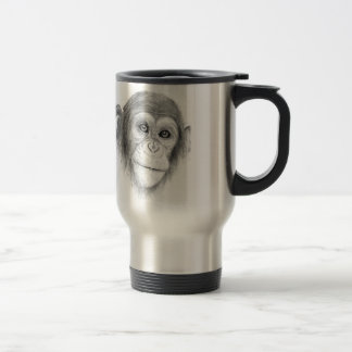 A Chimpanzee, Not Monkeying Around Sketch Travel Mug