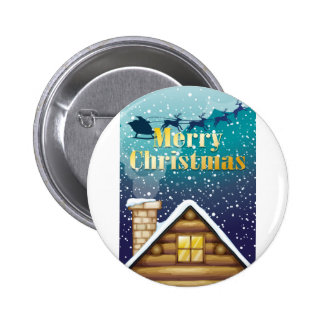 A christmas card with a wooden rooftop and a sleig 6 cm round badge
