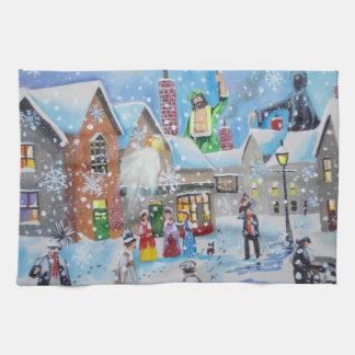 a Christmas Carol Scrooge and the three ghosts Tea Towel