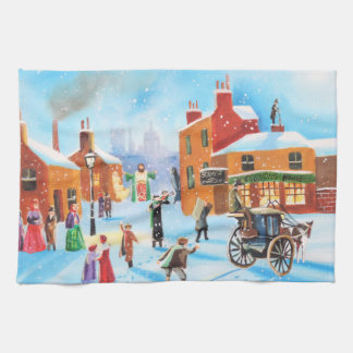 A Christmas Carol Scrooge and Tiny Tim by G Bruce Hand Towels