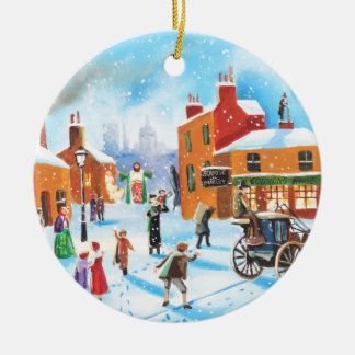 A Christmas Carol Scrooge and Tiny Tim by G Bruce Round Ceramic Decoration