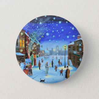 A Christmas Carol Scrooge Winter street scene 6 Cm Round Badge