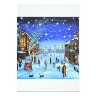 A Christmas Carol Scrooge Winter street scene Card