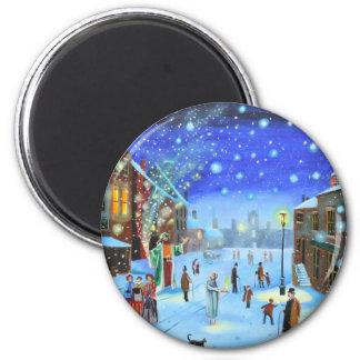 A Christmas Carol Scrooge Winter street scene Magnet