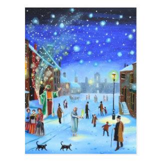 A Christmas Carol Scrooge Winter street scene Postcard