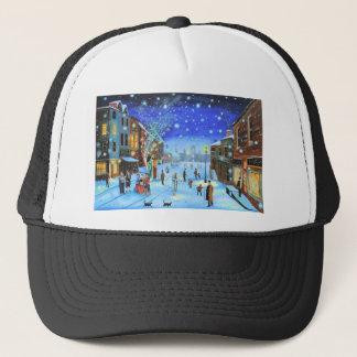 A Christmas Carol Scrooge Winter street scene Trucker Hat