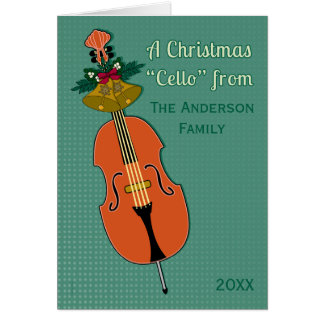 A Christmas Cello Add Name and Date Traditional Card