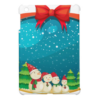 A christmas decor with four snowmen iPad mini cover