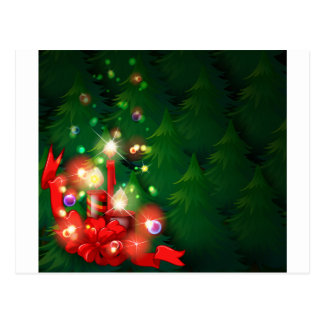 A christmas design with lighted candles postcard
