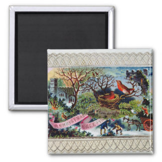 A Christmas Greeting, Victorian postcard Square Magnet