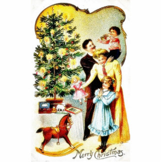 A christmas greeting with a family decorates the c photo cut outs