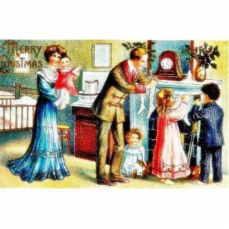 A christmas greeting with family decorating their photo cutouts