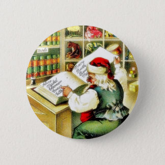 A christmas greeting with santa claus reading a bo 6 cm round badge
