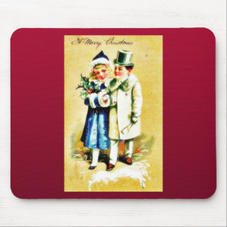 A Christmas greeting with young couples walking by Mouse Pads