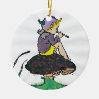 ~ A Christmas Pixie Fractal ~ Ceramic Ornament