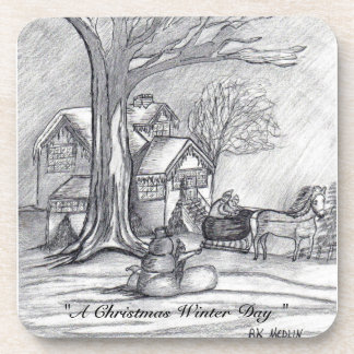 A Christmas Winter Day... Cork Coaster