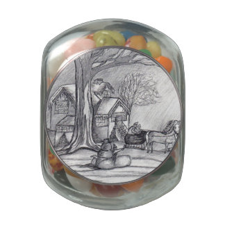 A Christmas Winter Day...Glass Candy Jar...