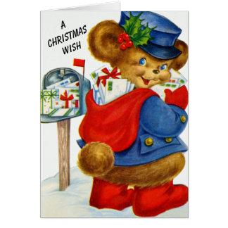 A Christmas Wish Santa Holiday Postman Bear Card