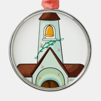 a church Silver-Colored round ornament