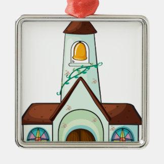 a church Silver-Colored square ornament