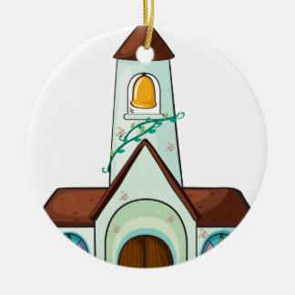 a church round ceramic ornament