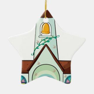 a church ceramic star ornament
