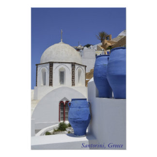 A church in Santorini, Greece Poster