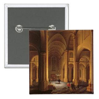 A Church Interior 15 Cm Square Badge