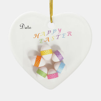 A Circle of Decorated Easter Eggs Ceramic Heart Decoration
