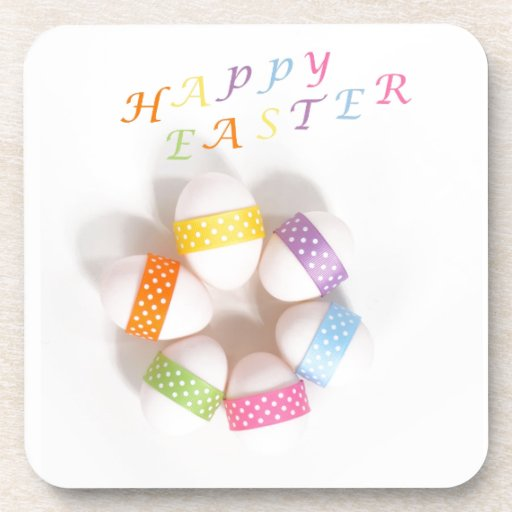 A Circle of Decorated Easter Eggs Drink Coaster