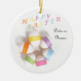A Circle of Decorated Easter Eggs Round Ceramic Decoration