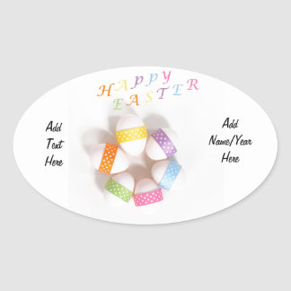 A Circle of Decorated Easter Eggs Oval Sticker