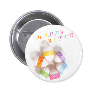 A Circle of Decorated Easter Eggs Pinback Button