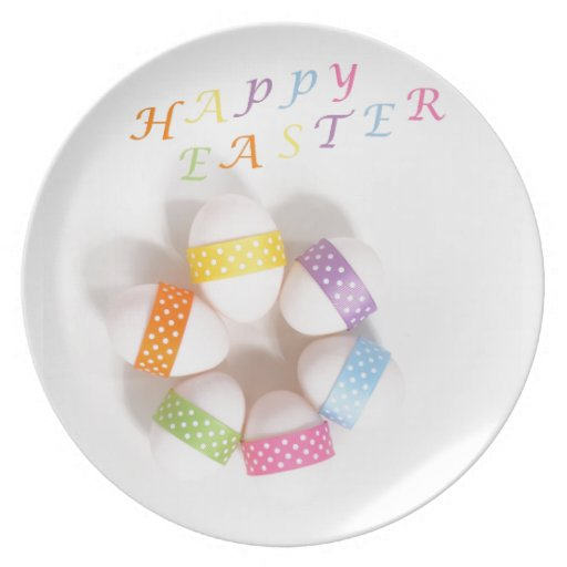 A Circle of Decorated Easter Eggs Party Plates
