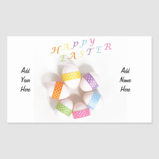 A Circle of Decorated Easter Eggs Rectangular Sticker