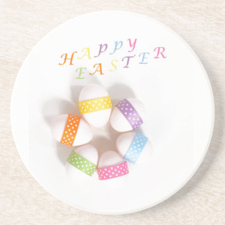A Circle of Decorated Easter Eggs Sandstone Coaster