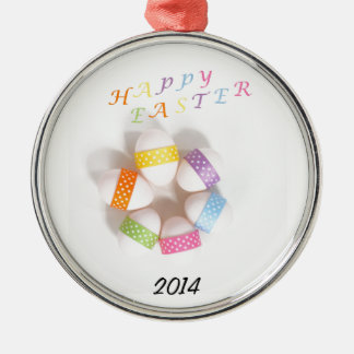 A Circle of Decorated Easter Eggs Silver-Colored Round Decoration